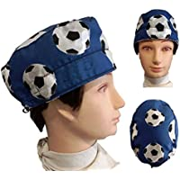 Gorro de Quirofano, Balones de Fútbol azul. Para Pelo corto Tipo chico, Enfermeria, dentistas, Veterinaria, Cocina, etc. Toalla en la frente y tensor de ajuste 100% algodón
