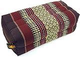 Guru-Shop Meditationskissen, Thai Nackenstütze Eckig mit Kapok - Braun, 10x20x30 cm, Meditationskissen & Sitzkissen