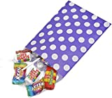 "100 x Purple Polka Dot Sweets / Gift / Party Paper Bags - 7"" x 9"" (18cm x 23cm) Unipack Brand - Unibags"