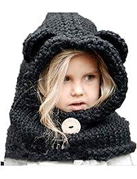 62c2761c0819 Freessom Bonnet Echarpe Cape Hiver Cagoule Ours Unisexe Bebe Enfant Garcon  Fille Mignon Kawaii Chaud Tricote