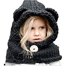 ea0127fdaf46 Freessom Bonnet Echarpe Cape Hiver Cagoule Ours Unisexe Bebe Enfant Garcon  Fille Mignon Kawaii Chaud Tricote
