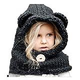 Freessom Bonnet Echarpe Cape Hiver Cagoule Ours Unisexe Bebe Enfant Garcon Fille Mignon Kawaii Chaud Tricote Laine Chapeau Bobs Protection D'oreilles (Noir)