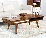 HAISER Interieur - Massiver Echtholz-Couchtisch mit Schublade 118 x 60 cm Palisander Sheesham Tisch
