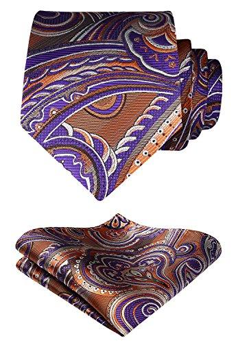 Hisdern Herren Krawatte Blumen Paisley Hochzeit Krawatte & Einstecktuch Set Braun und Lila