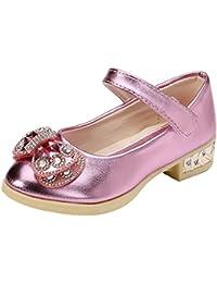 Scothen Princesa Jelly Party Zapatos de Tacón Alto Sandalias Zapatos de apilador con Arte Diamante Niños Chicas Festivas Bailarinas Strappy Loop Zapatos de Niñas Estudiantes Zapatos