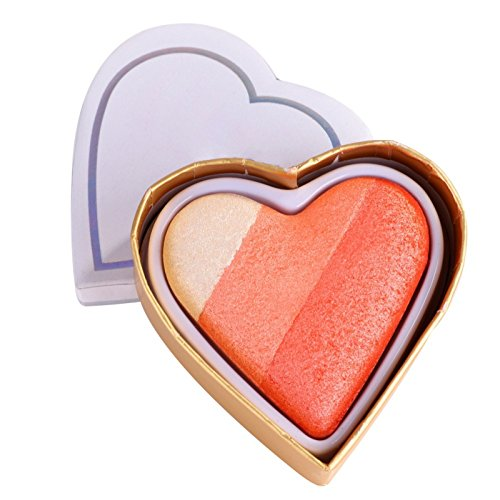 Allbesta Baked Blush - luminoso Regenbogen Highlighter Rouge, Herzförmig 1er Pack (1 x 1 Stück)...
