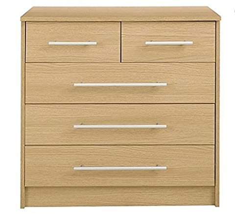 Home Source - Chest Of Drawers Oak 3+2 Bedroom Furniture 5 Drawer Metal Runners Kendal