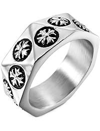 MunkiMix Acero Inoxidable Anillo Ring Plata Tono Negro Celta Celtic Medieval Cruzar Cruz Hombre