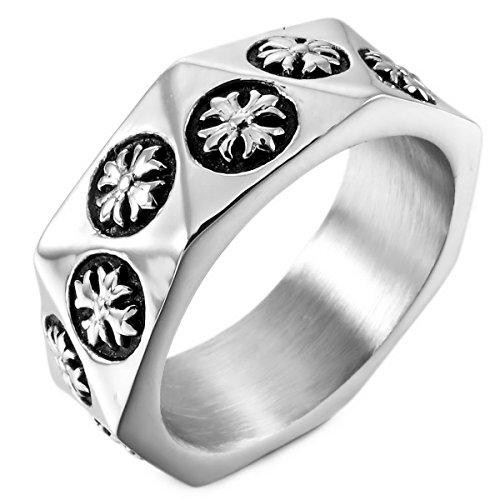 MunkiMix Acier Inoxydable Anneau Bague d'argent Ton Noir Celtic Celtique Medieval Croix Taille 64 Homme