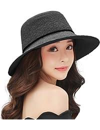 SIGGI Mujer Sombrero Plegable De Paja Panamá Verano Sol Ala Ancha Voltear hacia Arriba/Abajo Playa Uv Moda