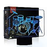 HeXie LED Nacht Lichter 3D Illusion Nachttisch Lampe 7 Farben ändern Schlafen Beleuchtung mit Smart Touch Button Nette Geschenk Warming präsentieren kreative Dekoration ideale Kunst (Schlagzeug)