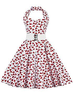 vkstar® Niños vestido años 50Vintage estilo halter sin mango 1950s Audrey Hepburn vestido niña Rockabilly Swing