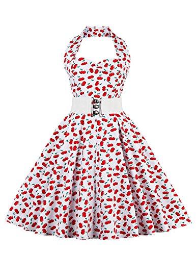 rmellos Kinderkleid 1950er Audrey Hepburn Kleid/Mädchen Kleid Rockabilly Swing Kleid Kommunionkleid Kirsche 3-4 (Mädchen Swing-kleid)