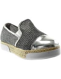 Angkorly Scarpe Moda Espadrillas Mocassini Suola di Sneaker Zeppe Slip-on  Donna Perforato Paillette Corda b18b31000a2