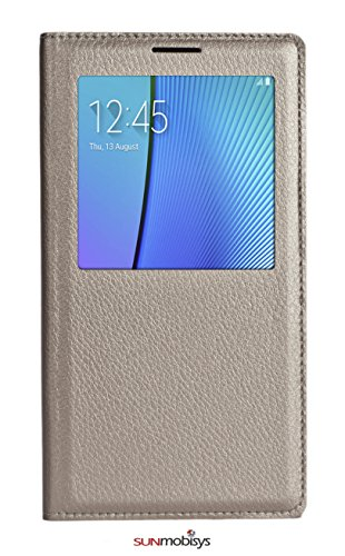 Sun Mobisys Samsung Galaxy Note 5 N920G Flip Cover; Premium Faux Leather For Allround Protection Phone Case Champagne Gold  available at amazon for Rs.175