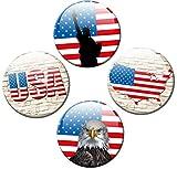 Kühlschrankmagnete Flagge USA 4er Set Fahne Ø 50 mm Magnete Länder-Flaggen mit Motiv Amerika