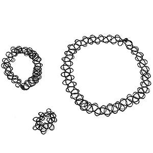 1 – 12 Sets Schmuck-Sets Tattoo Choker Elastische Dehnbare Halskette Ring Armband Retro Henna Vintage Boho 80 S 90 S