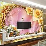 BHXINGMU Wandbild Benutzerdefinierte Wandbild Fototapete Romantische Rose Schwan Kunst Tapete Schlafzimmer Wanddekoration 150Cm(H)×200Cm(W)