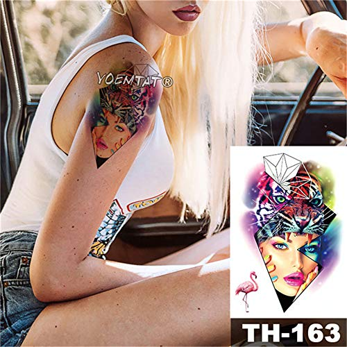 Tzxdbh adesivo tatuaggio temporaneo impermeabile pizzo rosa rossa motivo geometrico romantic trasferimento dell'acqua body art flash falso tatoo 2pcs-27