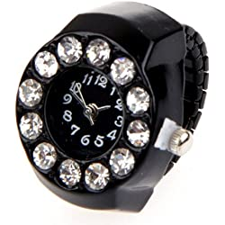 "Gleader Stretchy Women Round Crystal Finger Ring Watch 0.83"" HOT"