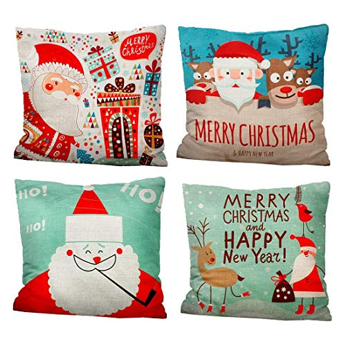 iMucci 4 Packs 18 X 18 Inch Merry Christmas Square Pillowcases - Holiday Decoration Cartoon Santa Claus Pillow Cover(multicolor)