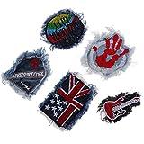 #6: MagiDeal 5 Piece/set Denim Jeans Fabric Trim Pants Clothes Applique Patches Badge for Sewing Crafts DIY