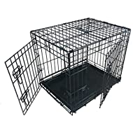 Ellie-Bo Dog Puppy Cage Folding 2 Door Crate with Non-chew Metal Tray Small 24-inch Black