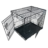 Ellie-Bo Dog Puppy Cage Folding 2 Door Crate with Non-chew Metal Tray, Small