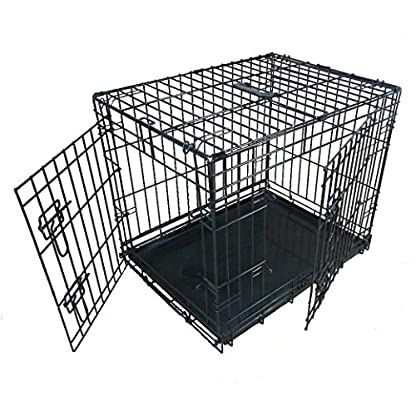 Ellie-Bo Dog Puppy Cage Folding 2 Door Crate with Non-chew Metal Tray Small 24-inch 1
