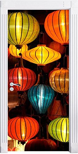 lanterne cinesi come Murale, Formato: 200x90cm, telaio della porta, adesivi porta, porta decorazione, autoadesivi del portello