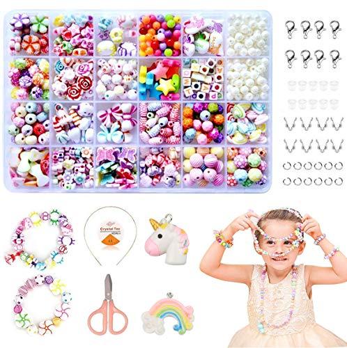 Coolba perline fai da te per bambini,perline per braccialetti bambini kit braccialetti fai da te bambina e creazione di gioielli, perline lettere per braccialetti kit perline per ragazze(24 tipi )