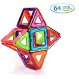 Magnetic Building Blocks Aweoods 64 PCS Educational Magnetic Tiles Set For Toddler Kids