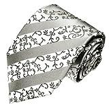 Lorenzo Cana - Hochwertige Marken Krawatte aus 100% Seide - weiss grau silber Streifen - 84311