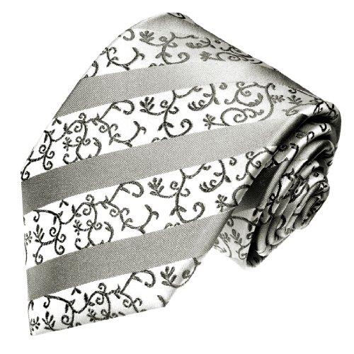 LORENZO CANA - Hochwertige Marken Krawatte aus 100% Seide - weiss grau silber Streifen - 84311 (Streifen Weiß Grau Seide)