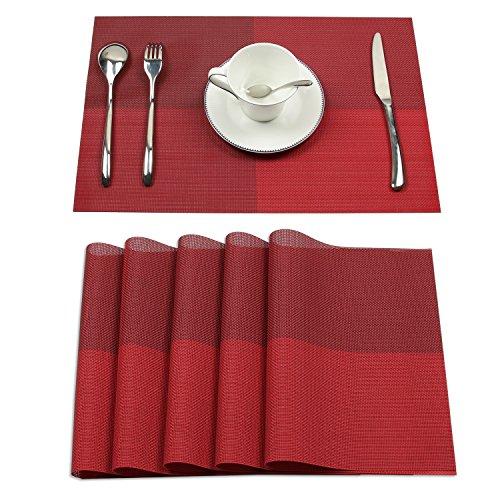 Homcomoda Rot 6er Set Tischsets Waschbare Platzsets Abgrifffeste Hitzebeständig Platzdeckchen-45*30cm