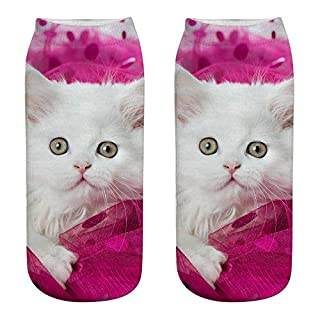 WSSB Unisex Funny 3D Fashion Cat Printed Casual Socks Cute Low Cut Ankle Socks