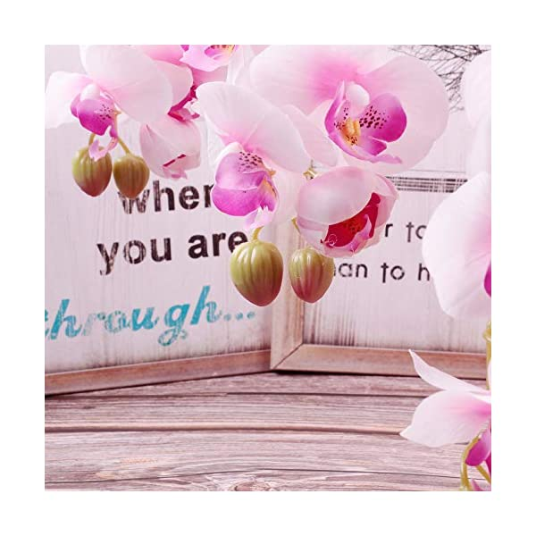 Famibay – Flores artificiales de orquídea Phalaenopsis con 11 cabezas de orquídea de mariposa blanca para decoración del…