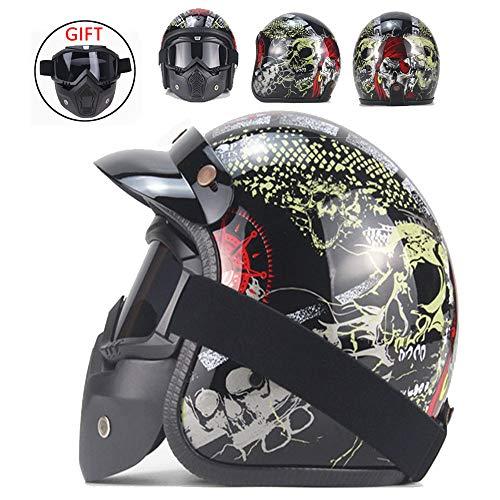 CHUDAN Harley Jet Helm Für Männer/Frauen Sommer 3/4 halben Helm mit Winddichte Brille Motorrad Retro Motorradhelm Cruiser Pilot Bike Scooter-Helm Motorrad Universal...