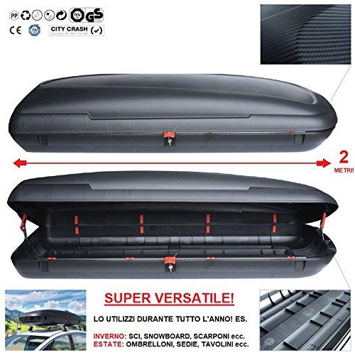 italfodere Baule da Tetto 480Lt Box Auto Portatutto Portabagagli Portapacchi Portasci BA480 Carbox Stupendo Effetto Carbonio