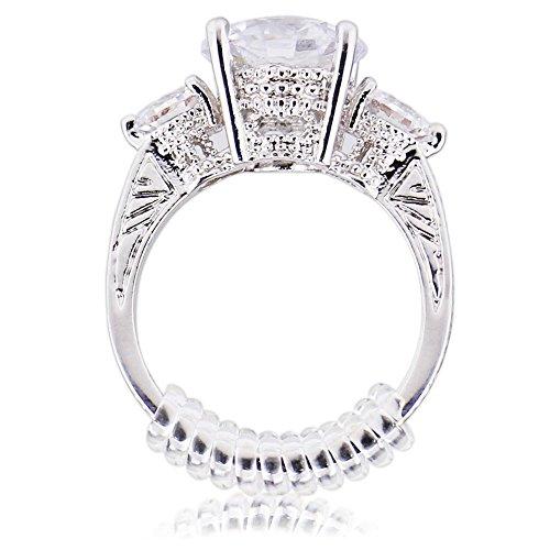 Ajustador del tamaño del anillo con tela para pulido de joyas, clasificador de anillos transparentes, 2 tamaños, paquete de 12 (2 mm / 3 mm)