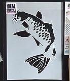 Poisson Carpe Koi POCHOIR Japonais poisson Mur Aquatique décor. Peinture Murs Tissu & Meubles Réutilisable Ideal Stencils Ltd - semi transparent pochoir, M/25X37CM...