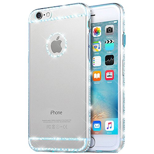 iPhone 6S Custodia, Cover iPhone 6 , Bonice Ultra trasparente Crystal Diamante Rhinestone TPU Silicone Gel Bling Morbido Sottile Case Per iPhone 6 6S(4.7) -Sky Blue
