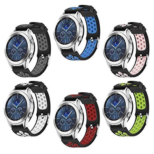 d für Samsung Galaxy Watch 46mm Bands Samsung Gear S3 Frontier oder Samsung Gear S3 Classic (S3-6 Pack) ()