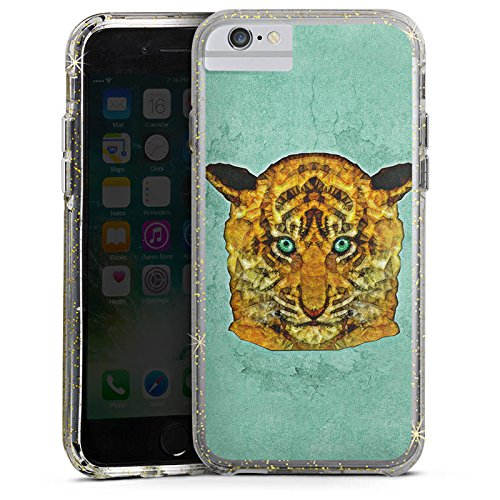 Apple iPhone 6 Plus Bumper Hülle Bumper Case Glitzer Hülle Mint Tiger Raubkatze Dschungel Bumper Case Glitzer gold