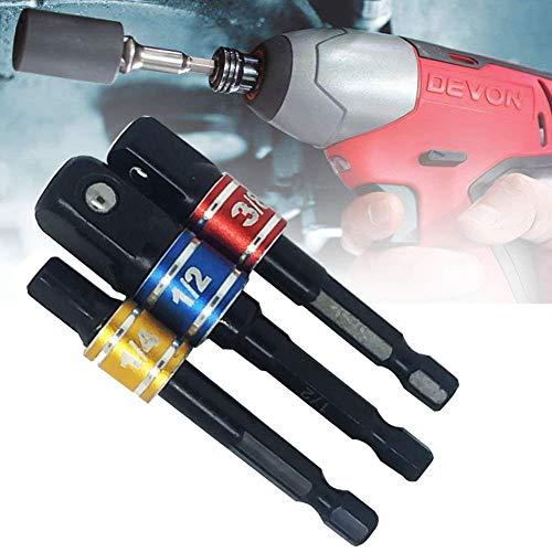 Sechskant Adapter Stecknussadapter Steckschlüssel,HYLONG 3 tlg Stecknuss Adapter Steckschlüssel Schraubenschlüssel Nuss Set Verbindung Verlängerung für Akkuschrauber,1/4\'\' 3/8\'\' 1/2\'\' Adapter Set
