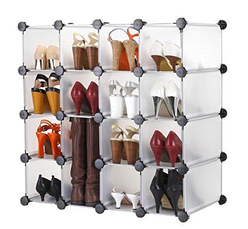 Vonhaus Cubes de Rangement Modulables pour Chaussures, Vêtements, Jouets - 16 Cubes