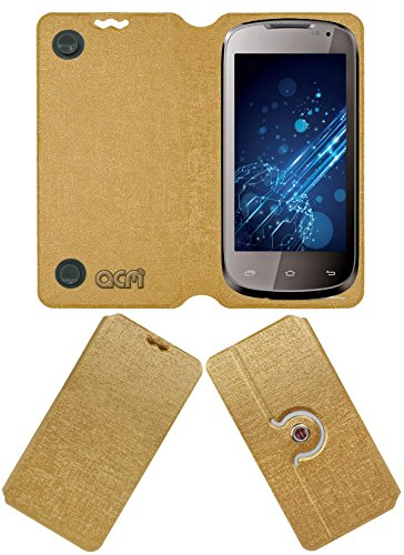 Acm Designer Rotating Flip Flap Case for Lava Xolo A500 Mobile Stand Cover Golden  available at amazon for Rs.399