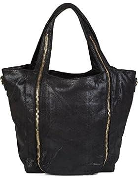 styleBREAKER Hobo Bag mit Reißverschluss Applikation auf der Vorderseite, Schultertasche, Umhängetasche, Handtasche...