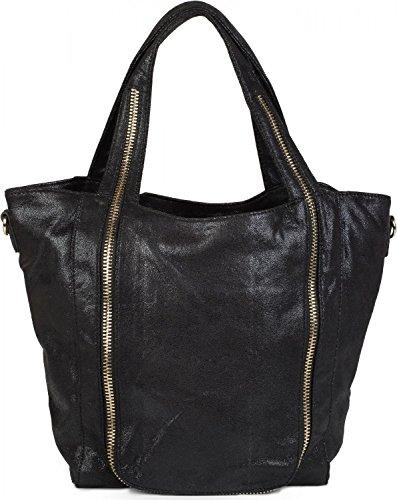 Print Hobo Bag Handtasche (styleBREAKER Hobo Bag mit Reißverschluss Applikation auf der Vorderseite, Schultertasche, Umhängetasche, Handtasche, Tasche, Damen 02012160, Farbe:Schwarz)