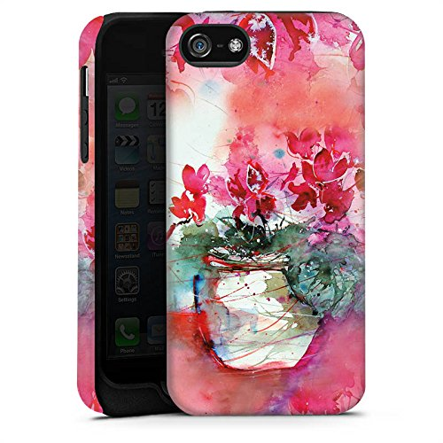 Apple iPhone X Silikon Hülle Case Schutzhülle Gemälde Rosen Blumen Tough Case matt